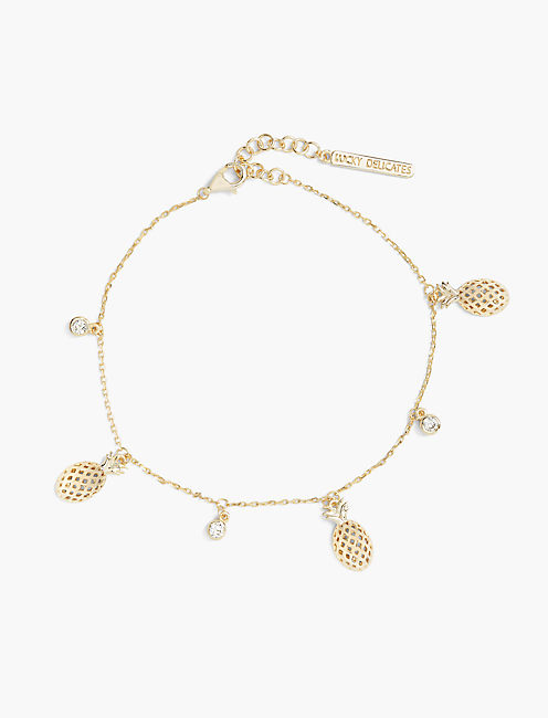 PINEAPPLE CHARM BRACELET, GOLD