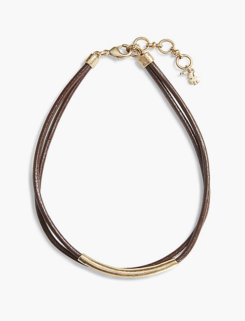 BROWN LEATHER CHOKER,