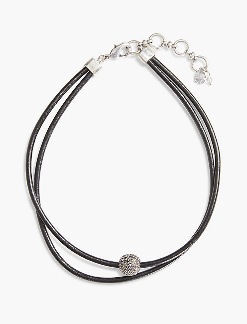 BLACK LEATHER CHOKER, SILVER