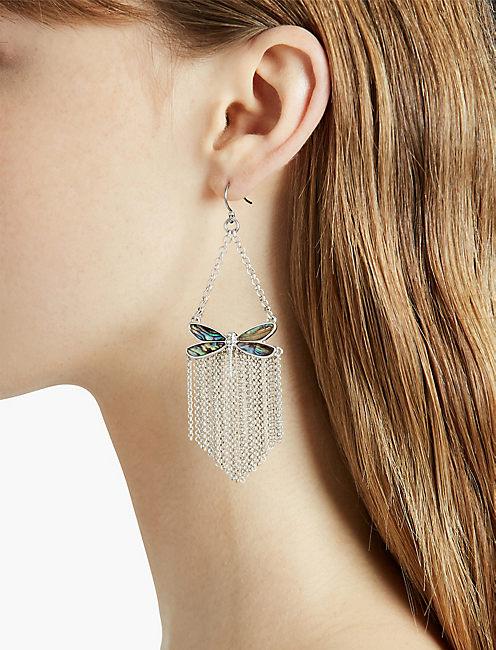 Lucky Abalone Dragonfly Fringe Earring