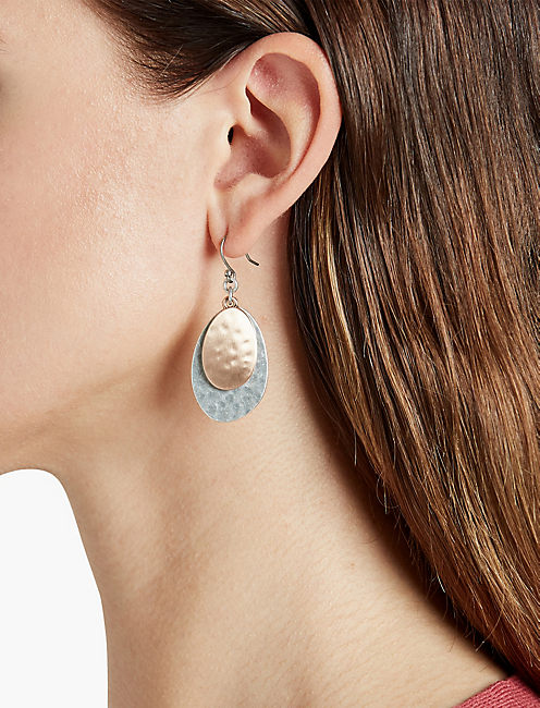 LUCKY Hammered Disc Earring