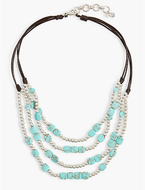 TURQUOISE BEADED COLLAR NECKLACE,