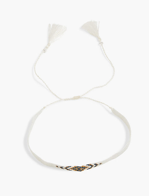WHITE BEADED CHOKER,