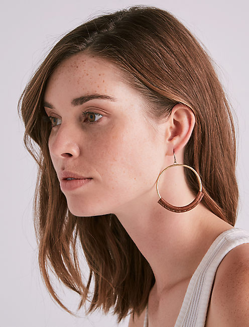 Lucky Gold Leather Hoop