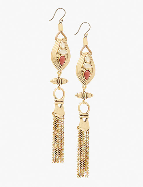 CORAL LEATHER EARRING,