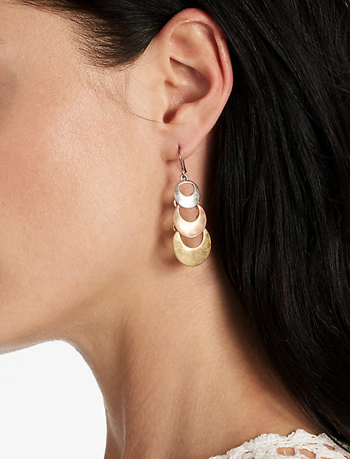 Lucky Tiered Tri Tone Earring
