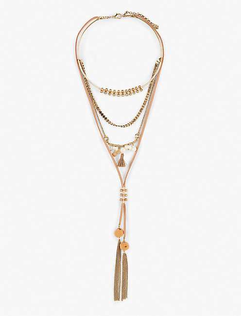 LAYER TASSEL NECKLACE, GOLD