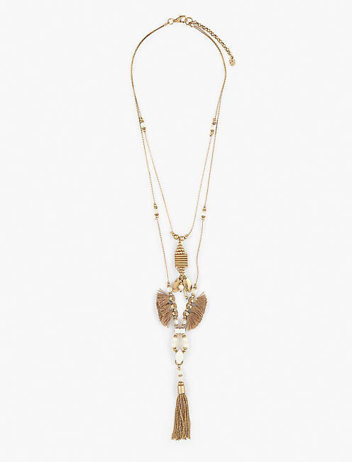 DOUBLE TASSEL NECKLACE, GOLD