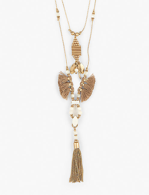 DOUBLE TASSEL NECKLACE,