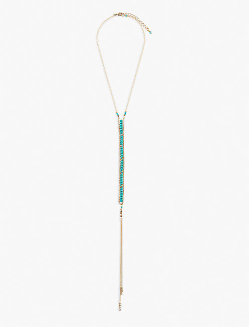DELICATE BEADED LARIAT, GOLD