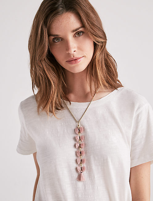 Lucky Mauve Fringe Y Necklace