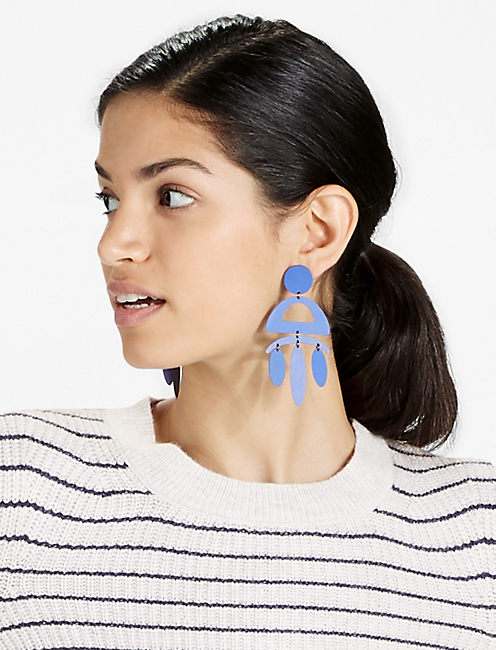 BLUE PAINTED EARRING, SILVER