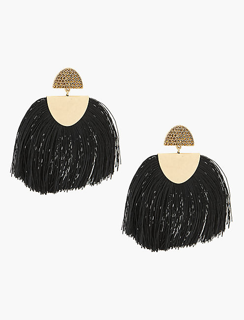BLACK FRINGE EARRING, GOLD