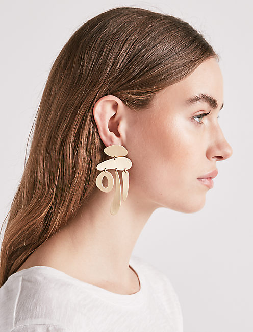 Lucky Brushed Statement Earring