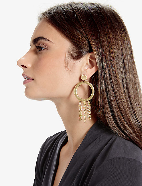 Lucky Gold O Tassel Earring