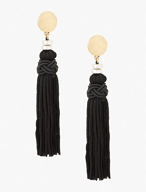 BLACK TASSEL EARRING,