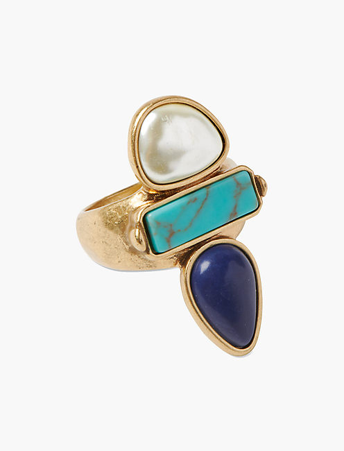 TURQUOISE PEARL RING,