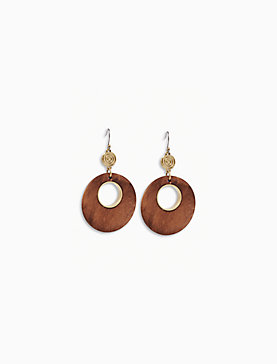 WOOD CIRCLE DROP EARRING