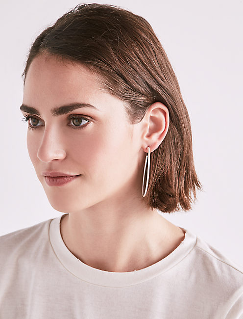 Lucky Silver Oval Hoops