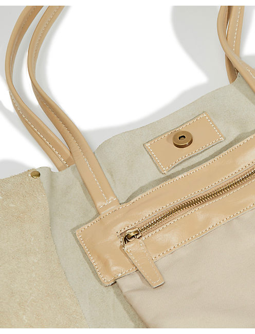 LEATHER TOTE, LIGHT BROWN