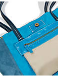 LEATHER TOTE, TURQ/NAVY COLORBLOCK