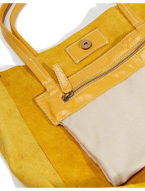 LEATHER TOTE, DARK YELLOW