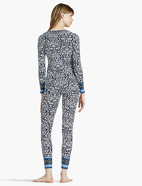 PRINTED PAJAMA THERMAL, OPEN WHITE/NATURAL