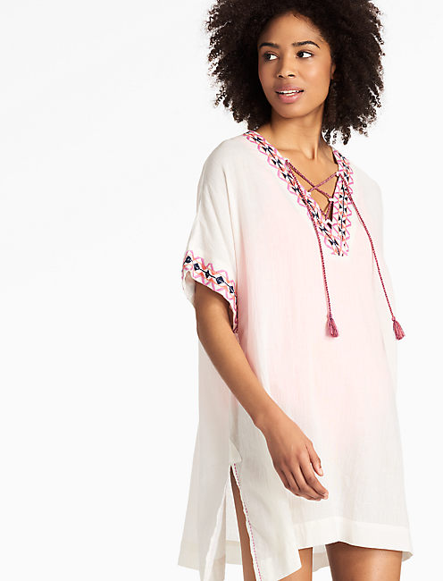 LACE-UP CAFTAN, NATURAL