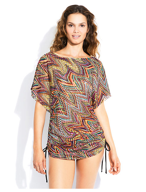 COLOR SPLASH COVERUP TEE, MULTI
