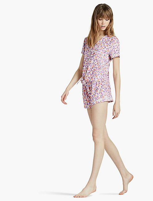 NOTCH COLLAR SHORTY PJ, OPEN WHITE/NATURAL