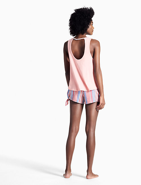 EMBROIDERED PAJAMA TANK, LIGHT PINK