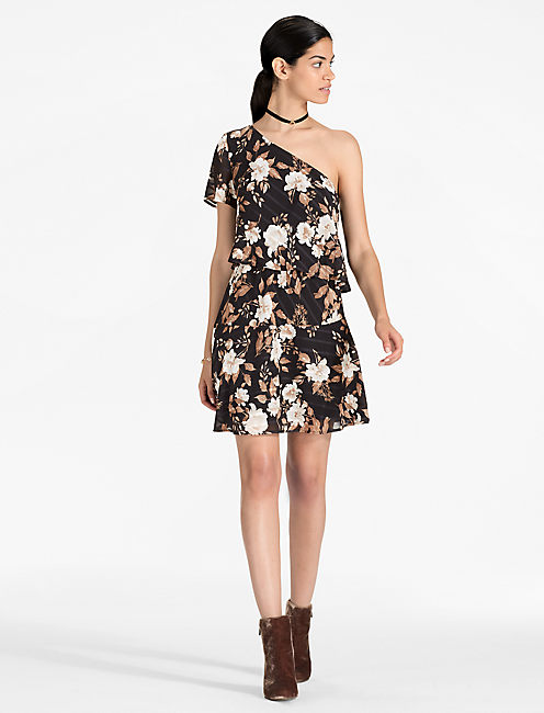 Lucky One Shoulder Floral Mini
