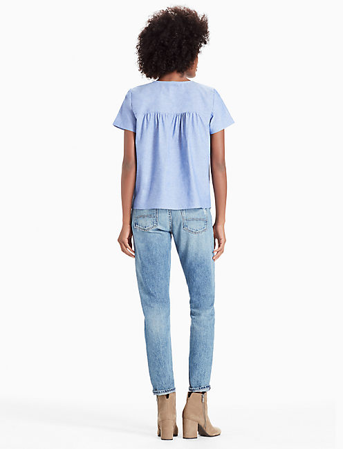 SHORT SLEEVE LACE UP TOP,