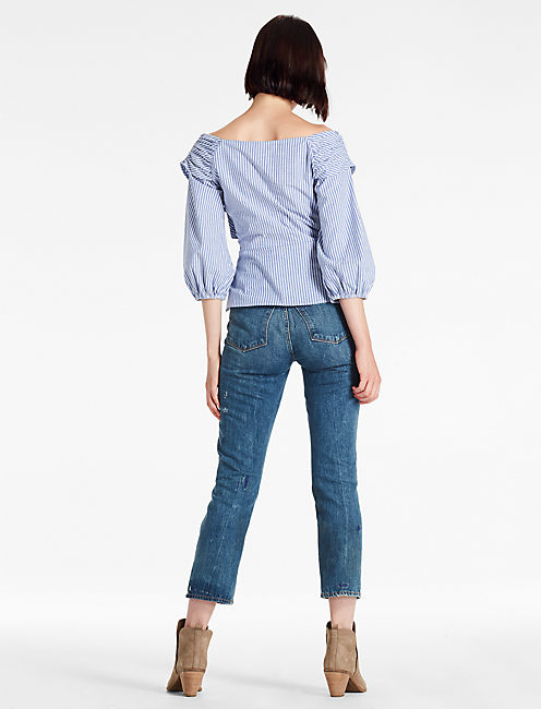 TIE FRONT PUFF SLEEVE TOP,