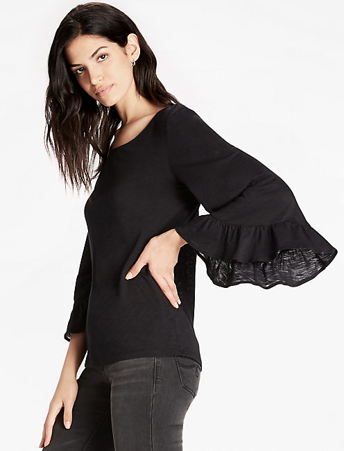 WIDE RUFFLE SLEEVE TOP, 001 LUCKY BLACK