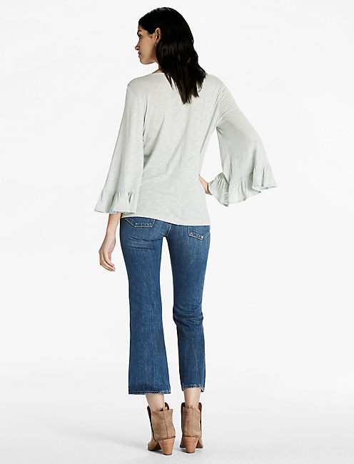 WIDE RUFFLE SLEEVE TOP, SEAFOAM