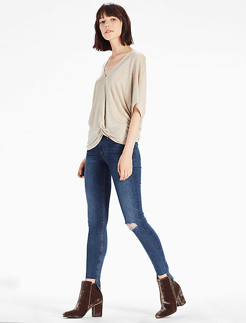 TWIST FRONT TOP, OATMEAL