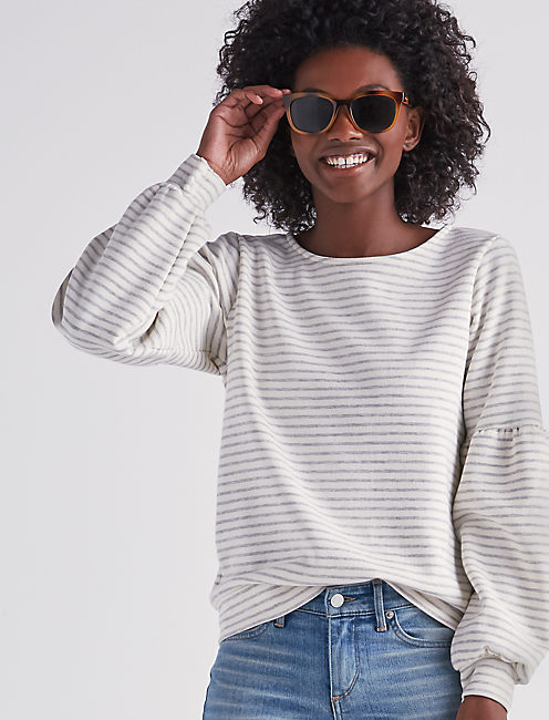STRIPE PUFF SLEEVE SWEATSHIRT,