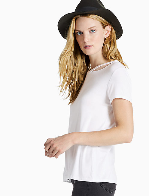 CUT OUT CREW NECK TEE, LUCKY WHITE