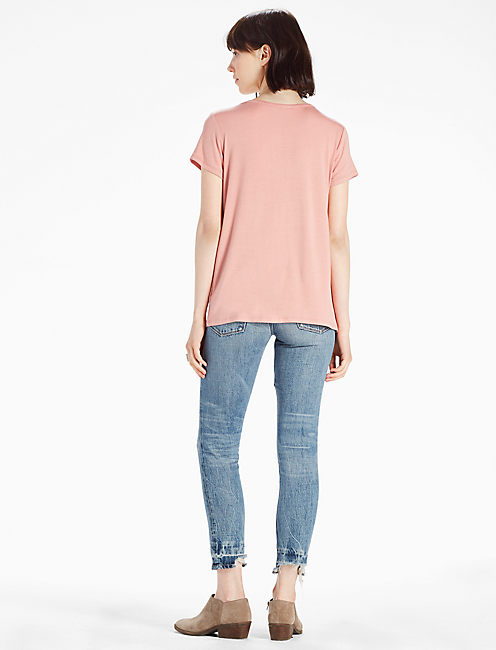 CUT OUT CREW NECK TEE, MISTY ROSE
