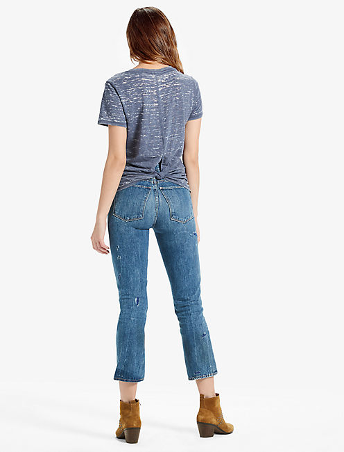 THE ANGELES TIE KNOT BACK BURNOUT TEE, NAVY