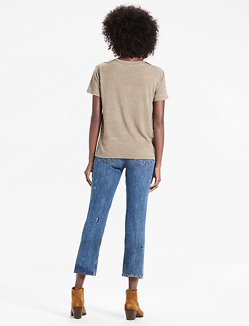 THE ANGELES CREW SLIT BURNOUT TEE, OLIVE