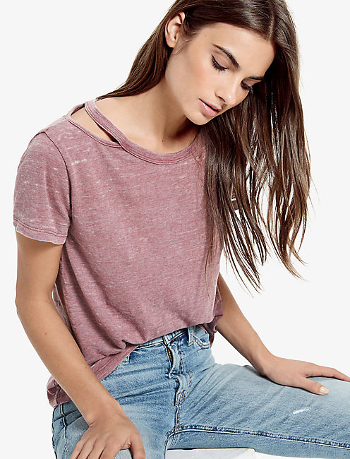 THE ANGELES CREW SLIT BURNOUT TEE, BURGUNDY