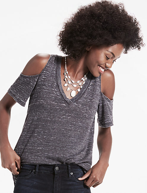 THE ANGELES COLD SHOULDER V NECK BURNOUT TEE,