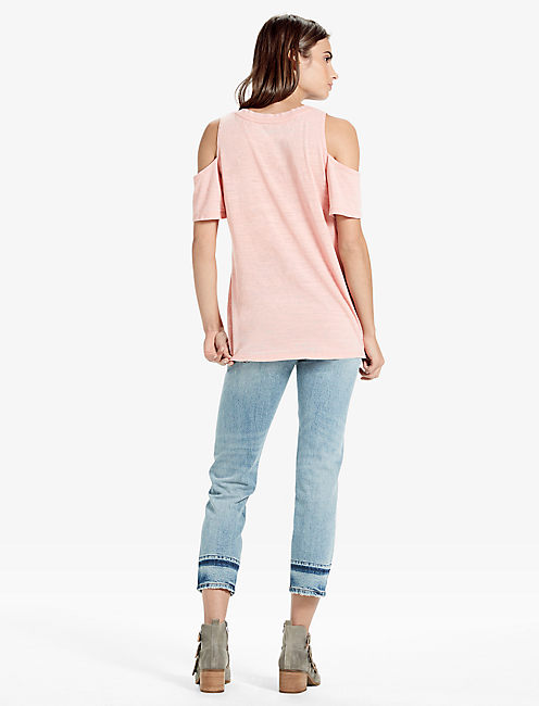THE ANGELES COLD SHOULDER V NECK BURNOUT TEE, BLUSH