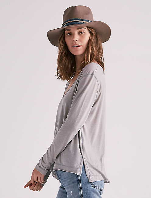 SOLID LONG SLEEVE TEE, STEEL GRAY