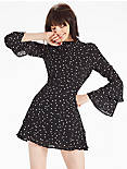 BELL SLEEVE DRESS, BLACK MULTI