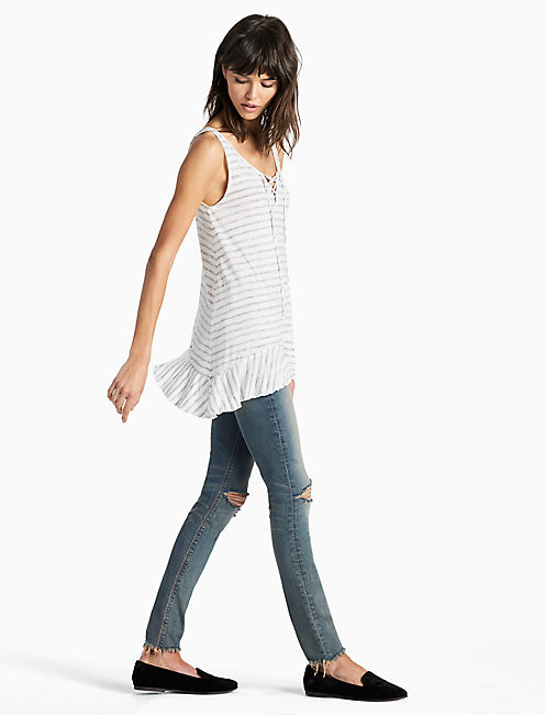Lucky Striped Lace Up Tank