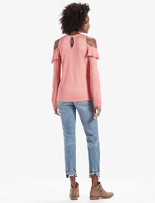 COLD SHOULDER RUFFLE TOP,