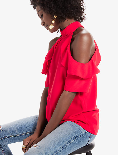 COLD SHOULDER TOP, RIO RED